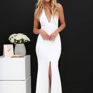 LULUS * TIME OUT OF MIND IVORY HALTER MAXI DRESS